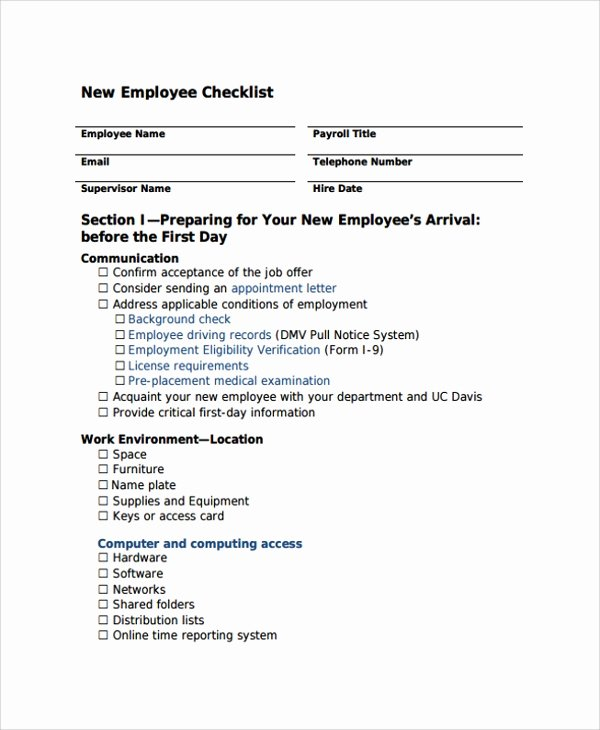 New Hire Checklist Template Word Lovely Sample New Employee Checklist 20 Free Documents