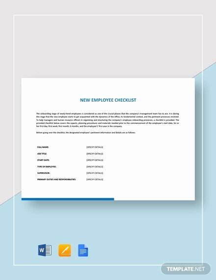 New Hire Checklist Template Word Luxury New Employee Checklist Template 18 Free Word Pdf