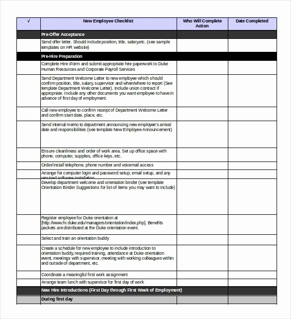 New Hire Checklist Template Word Unique Boarding Checklist Template 17 Free Word Excel Pdf