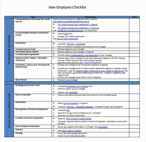 New Hire Checklist Template Word Unique New Hire Checklist Templates Free Word Excel Pdf – soohongp