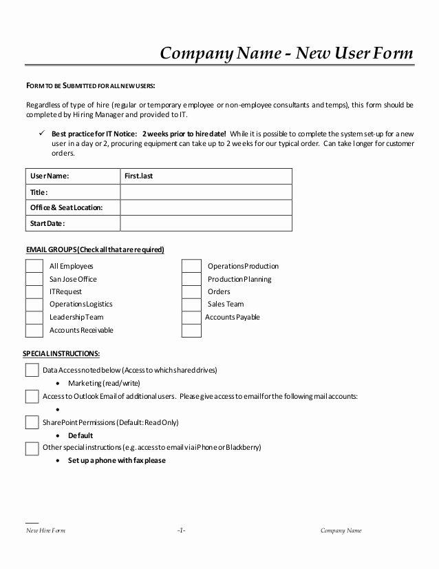 New Vendor Setup form Template Inspirational New Hire It Request form