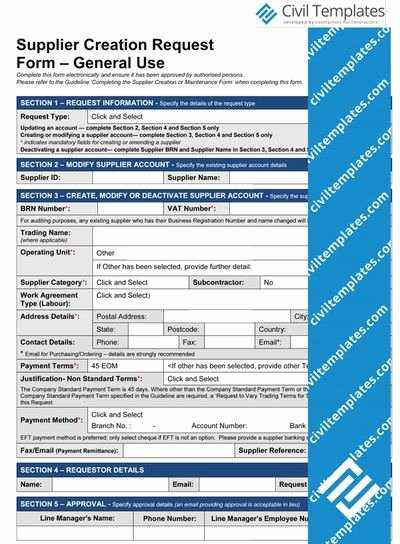 New Vendor Setup form Template Lovely Supplier Creation Request form New Templates