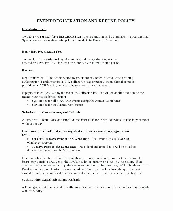 No Refund Policy Template Best Of Cancellation Policy Template Free Templates for E Merce
