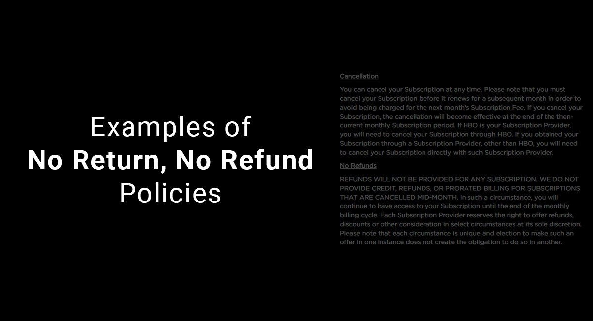 No Refund Policy Template New Examples Of No Return No Refund Policies Termsfeed