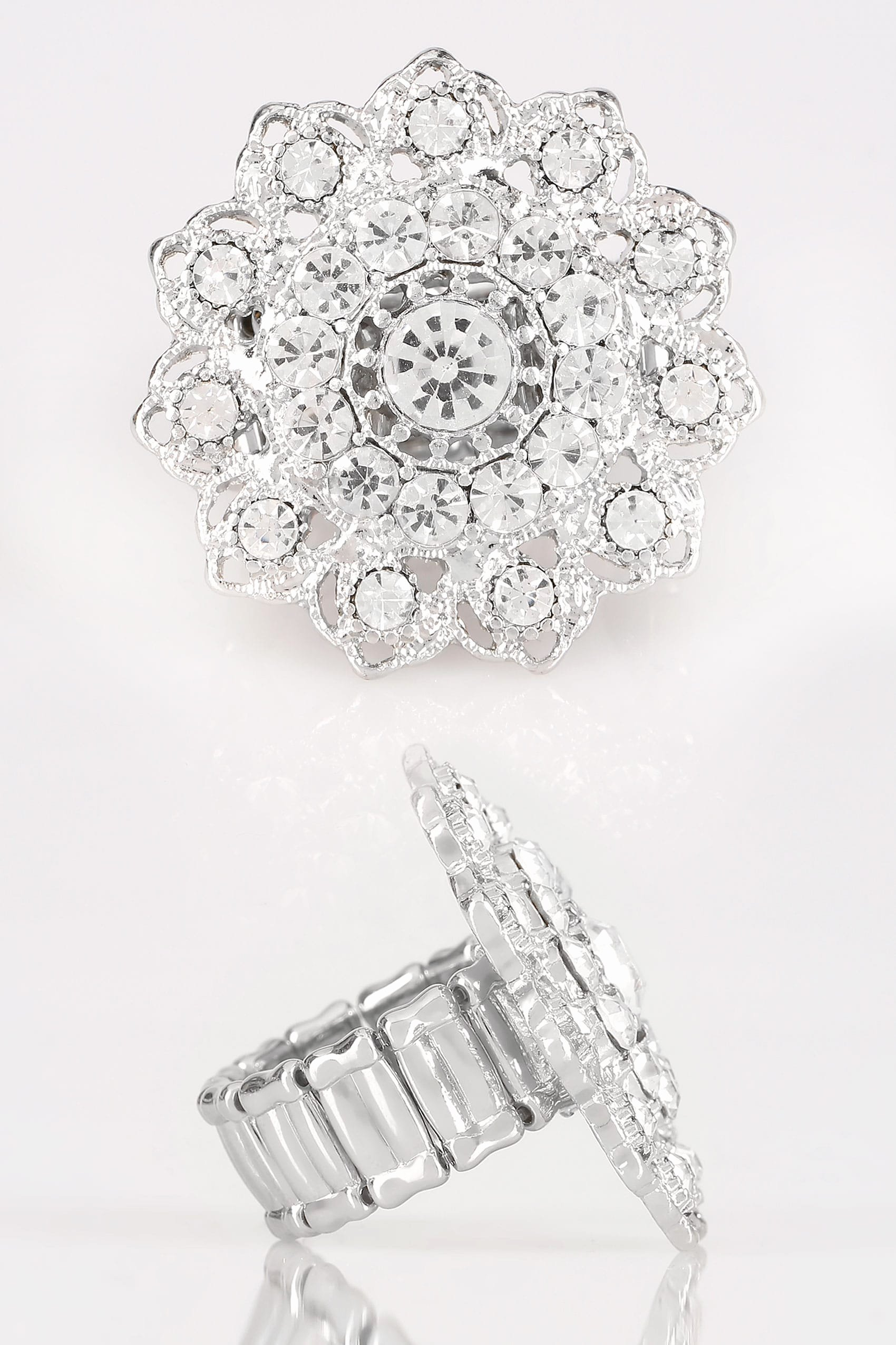 No Return Policy Template Elegant Silver Mandala Stretch Ring with Diamante Details