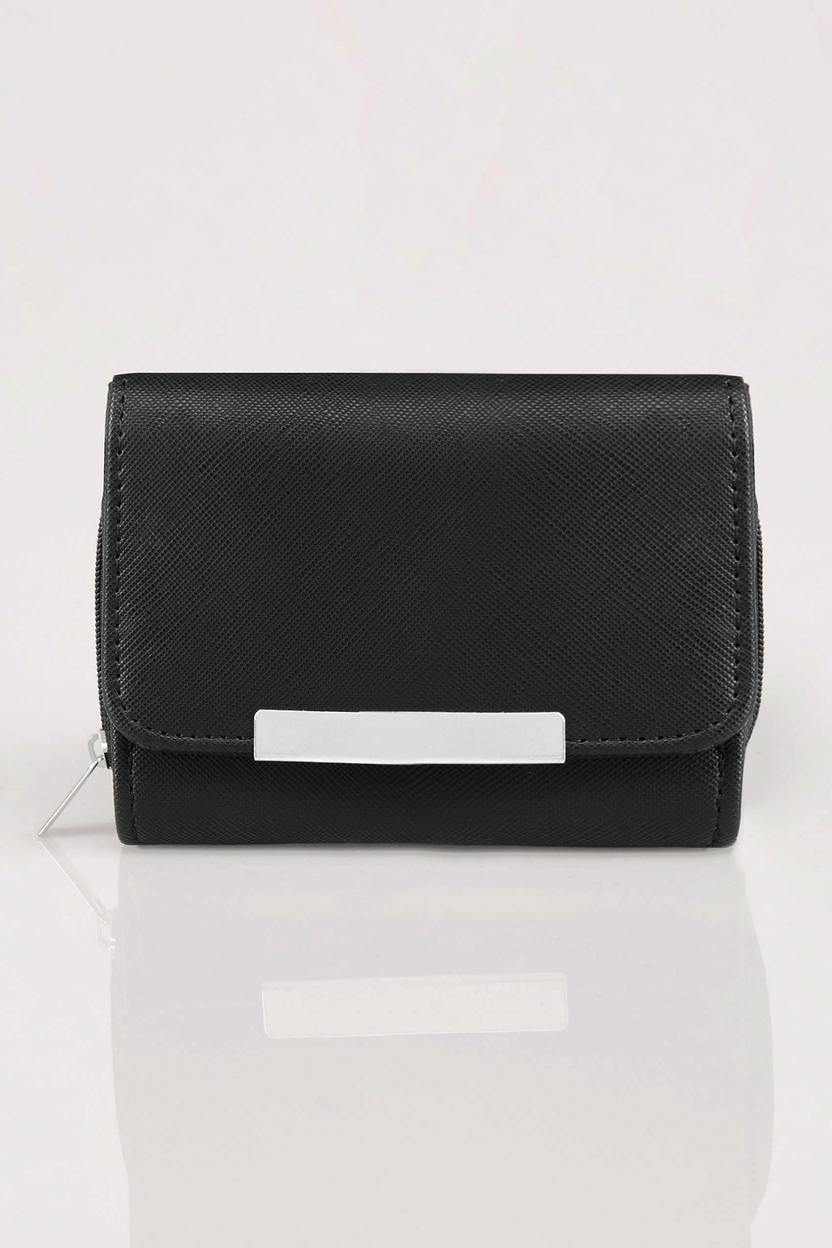 black zip around purse with metal bar trim p