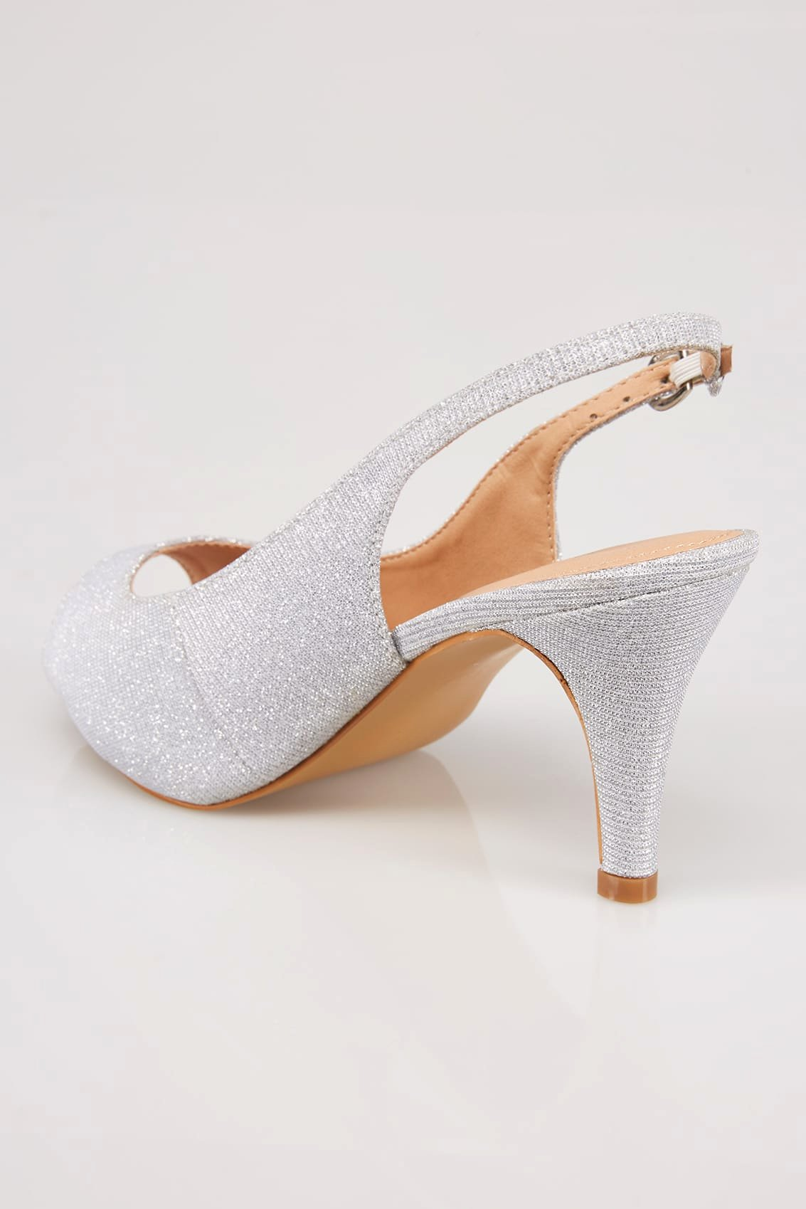No Return Policy Template Unique Silver Glittery Peep toe Sling Back Heels In Eee Fit