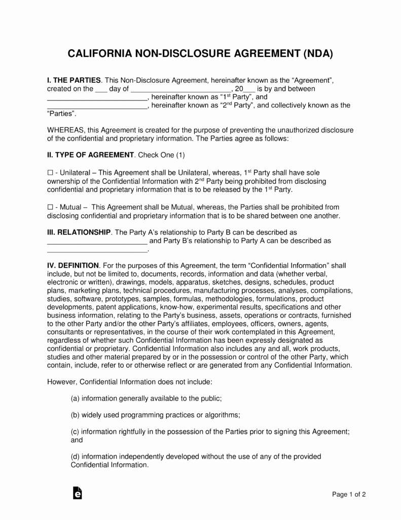 Non Disclosure Agreement Template Pdf Awesome California Non Disclosure Agreement Nda Template