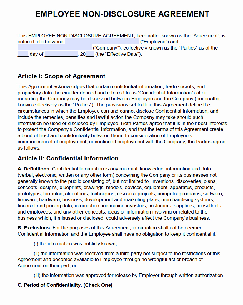 Non Disclosure Agreement Template Pdf Awesome Free Employee Non Disclosure Agreement Nda Pdf