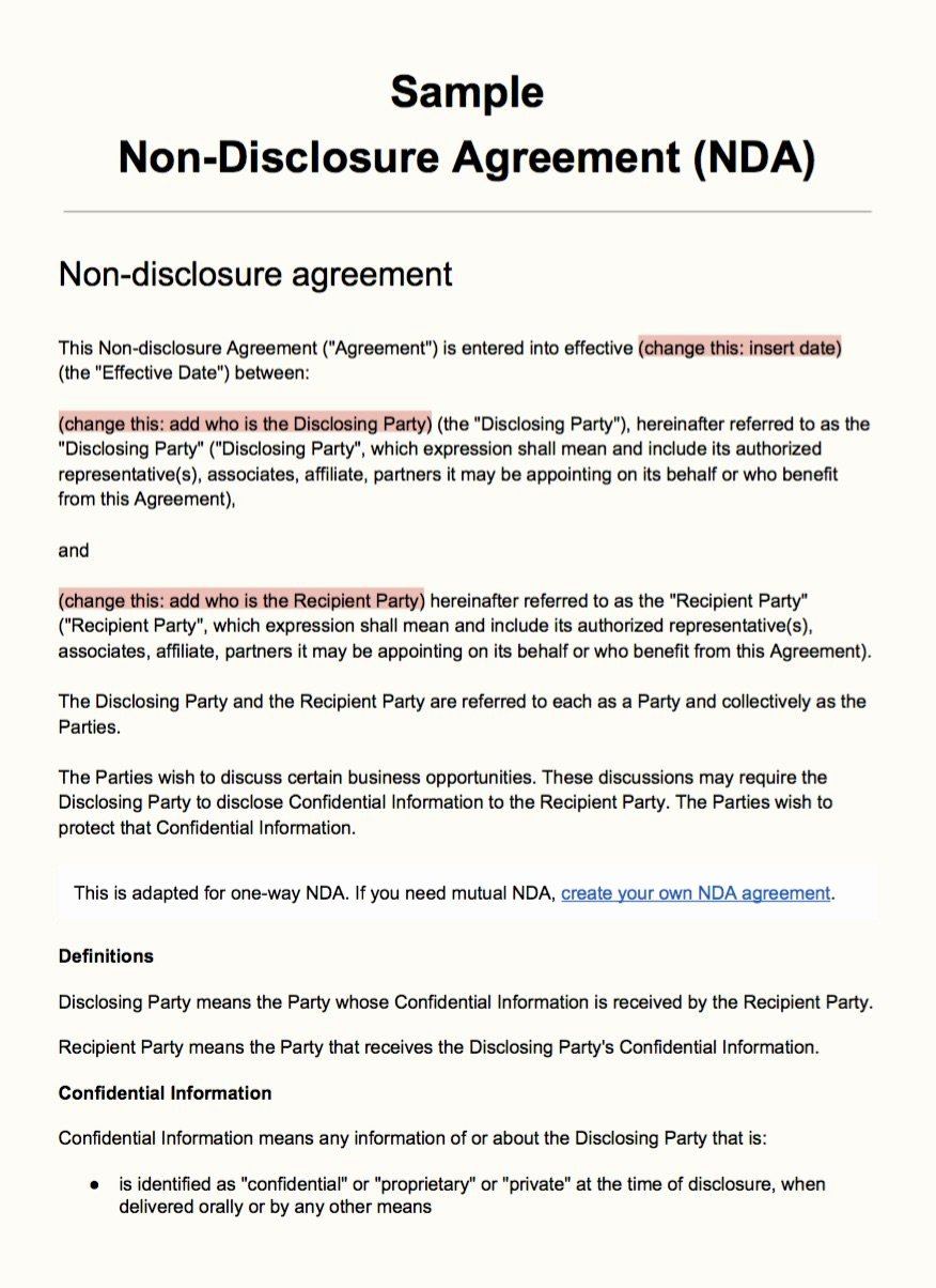 Non Disclosure Agreement Template Pdf Beautiful Sample Non Disclosure Agreement Template Everynda