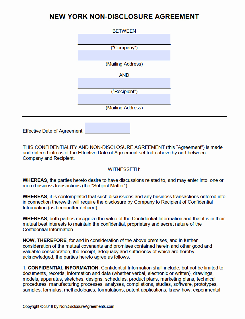 Non Disclosure Agreement Template Pdf Best Of Free New York Non Disclosure Agreement Nda Template
