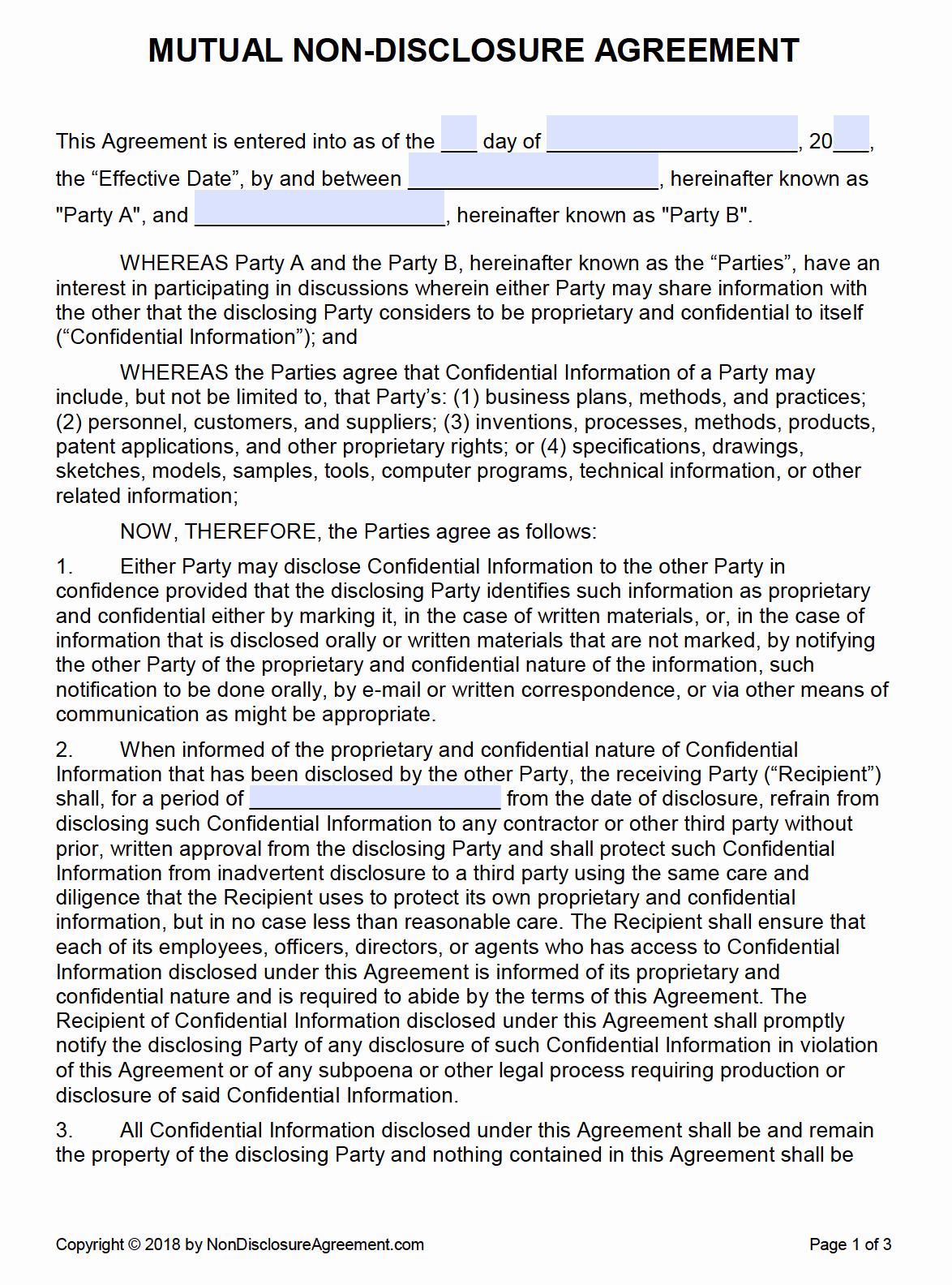 Non Disclosure Agreement Template Pdf Elegant Free Mutual Non Disclosure Agreement Nda Pdf