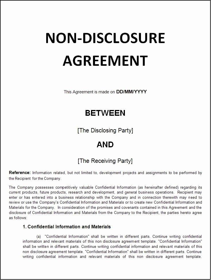 Non Disclosure Agreement Template Pdf Elegant Printable Sample Non Disclosure Agreement Sample form