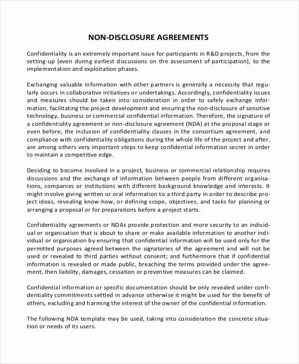 Non Disclosure Agreement Template Pdf Elegant Simple Non Disclosure Agreement form – 14 Free Word Pdf