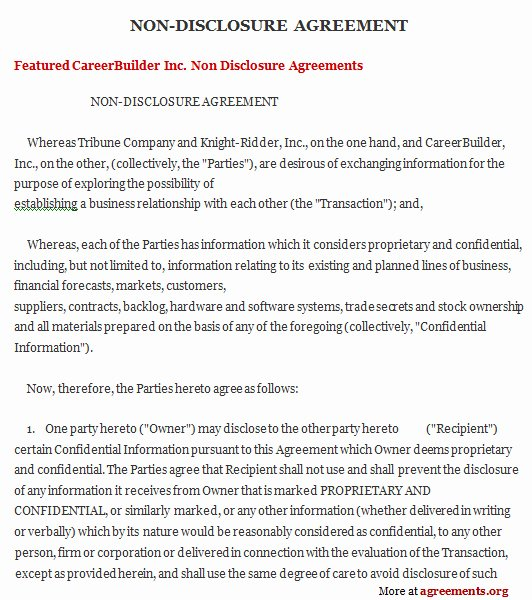 Non Disclosure Agreement Template Pdf Fresh Non Disclosure Agreement Sample Non Disclosure Agreement