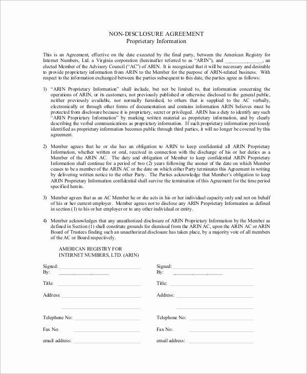 Non Disclosure Agreement Template Pdf Fresh Sample Non Disclosure Agreement In Pdf 10 Examples In Pdf