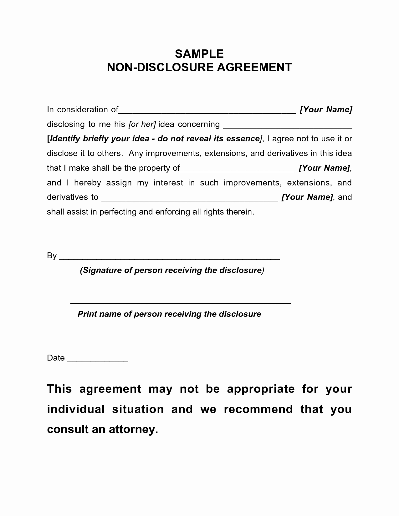 Non Disclosure Agreement Template Pdf Inspirational Non Disclosure Agreement Sample Free Printable Documents