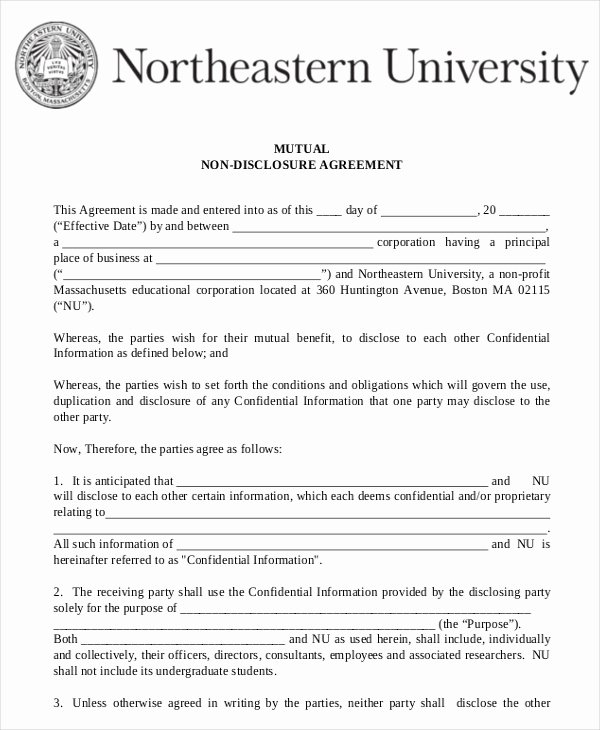 Non Disclosure Agreement Template Pdf Lovely Mutual Non Disclosure Agreement form – 10 Free Word Pdf