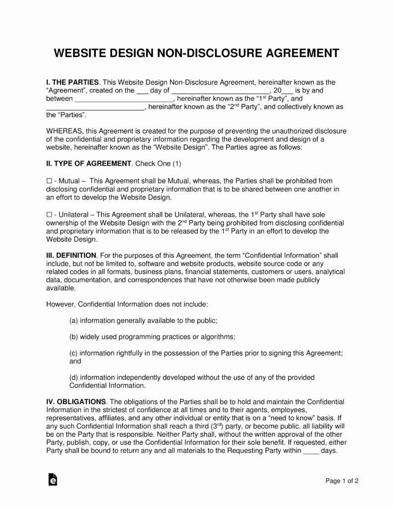 Non Disclosure Agreement Template Pdf Luxury Website Design Non Disclosure Agreement Nda Template
