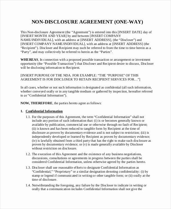 Non Disclosure Agreement Template Pdf New Non Disclosure Agreement Template 16 Free Word Pdf