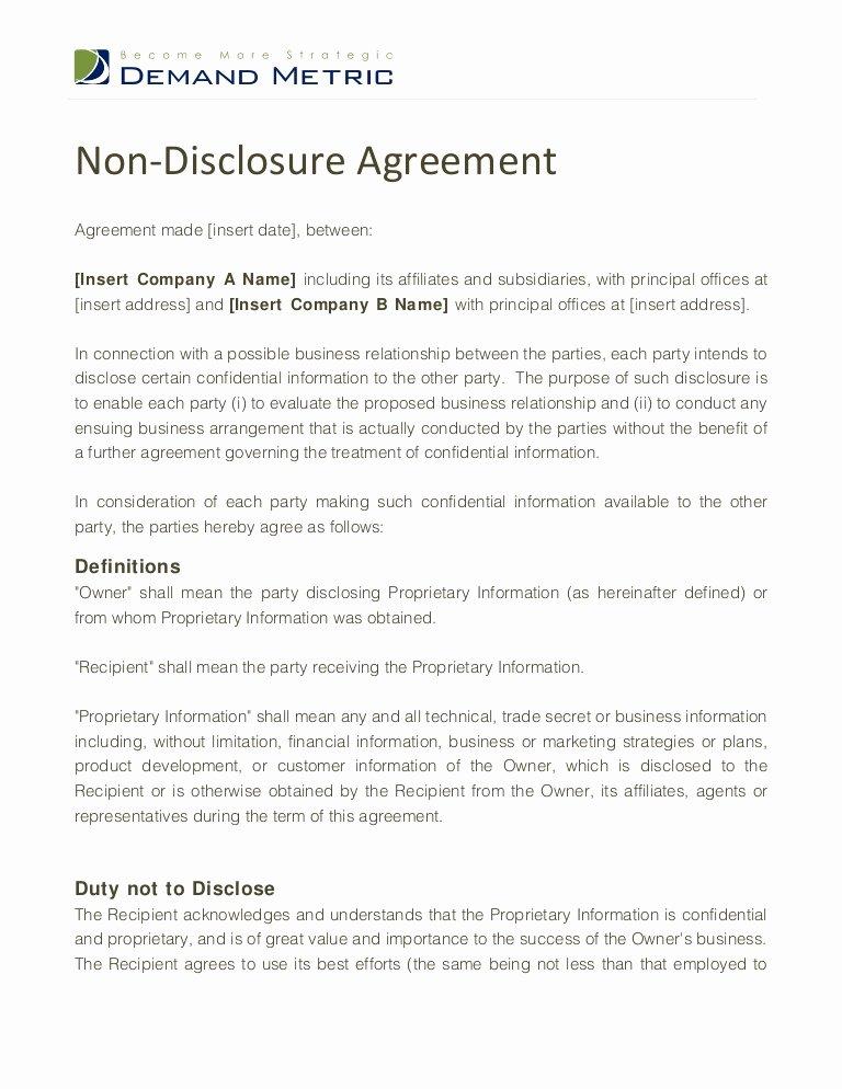 Non Disclosure Agreement Template Pdf New Non Disclosure Agreement Template