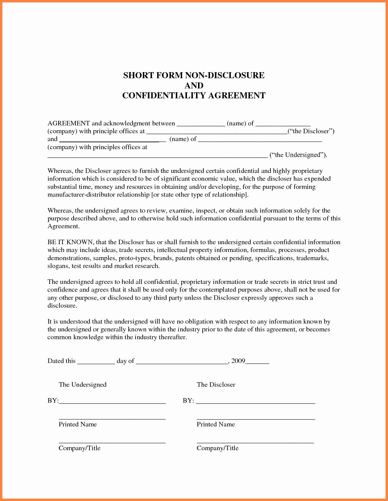 Non Disclosure Agreement Template Pdf Unique 7 Generic Non Disclosure Agreement Template