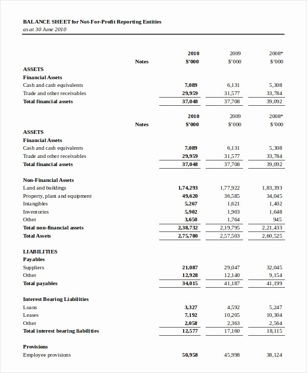 Non Profit Balance Sheet Template New Balance Sheet 18 Free Word Excel Pdf Documents