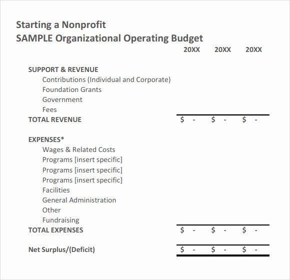 Non Profit Budget Template Excel Awesome Free 9 Non Profit Bud Templates In Google Docs