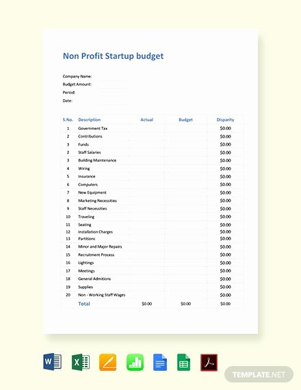 Non Profit Budget Template Excel Lovely 8 Non Profit Bud Templates Word Pdf Excel Apple