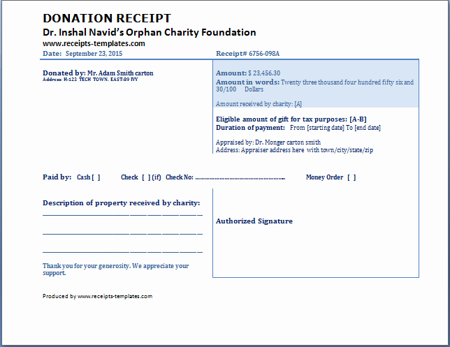 Non Profit Donation Receipt Template New Charitable Donation Receipt Template