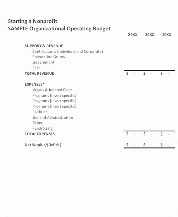 Non Profit organization Budget Template Beautiful Nonprofit Operating Bud Template 8 Non Profit Bud