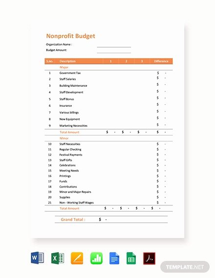 Non Profit organization Budget Template Elegant 10 Nonprofit Bud Templates Word Pdf Excel