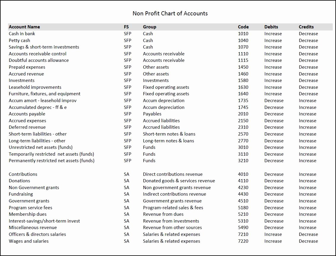 Non Profit organization Structure Template Fresh Nonprofit Chart Of Accounts Template