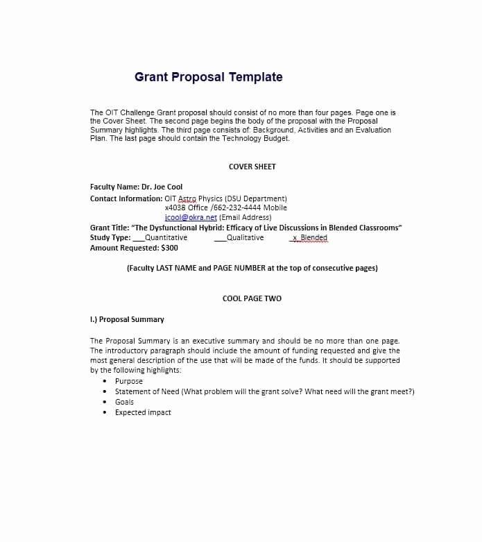 Non Profit Proposal Template Unique 40 Grant Proposal Templates [nsf Non Profit Research]