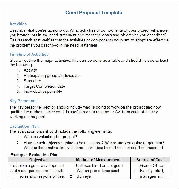Non Profit Proposal Template Unique Example Grant Proposal for Non Profit organization