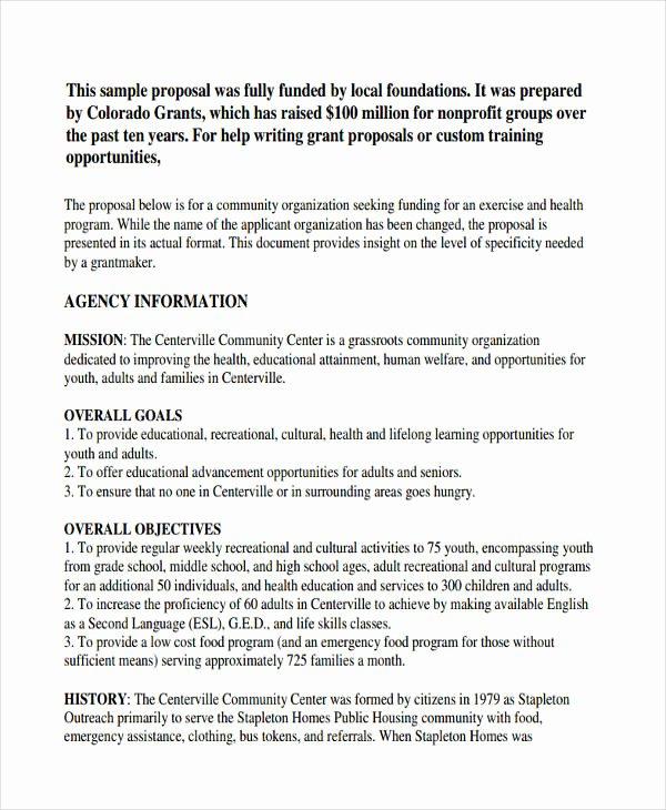 Non Profit Proposal Template Unique Free 8 Non Profit Proposal Examples & Samples In Doc