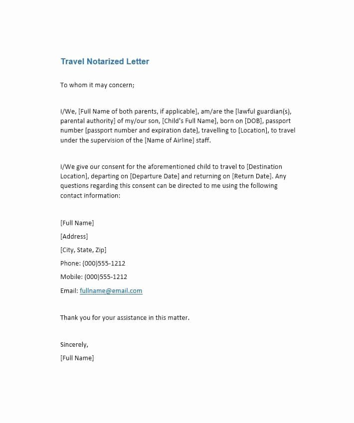 Notarized Letter Template Word Awesome Free Notarized Letter Template Sample format Example