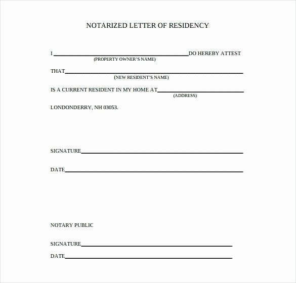 Notarized Letter Template Word Awesome Proof Residency Notarized Letter Flowersheet
