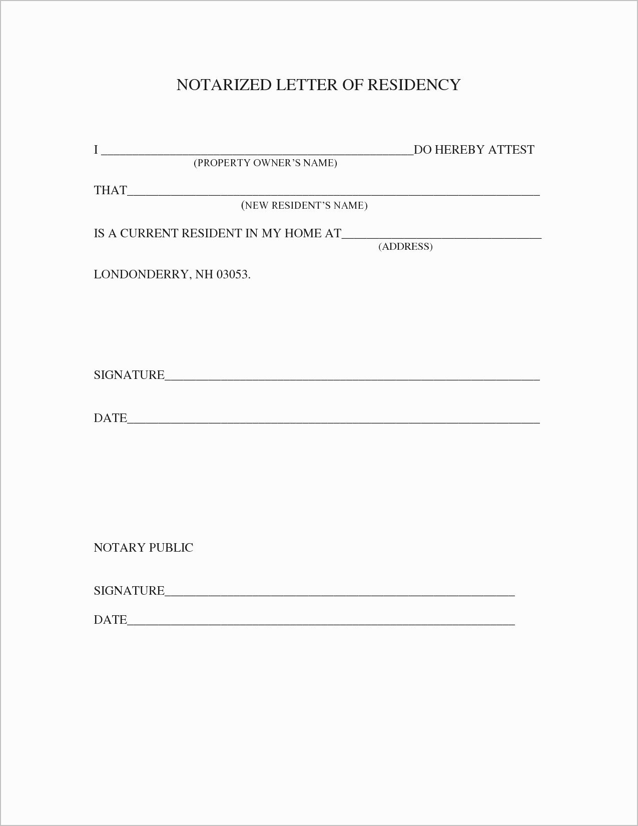 Notarized Letter Template Word Lovely Proof Residency Letter Template Pdf Samples