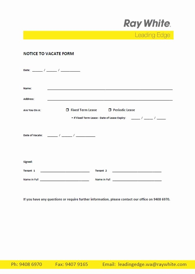 Notice to Vacate Letter Template Best Of Free Printable Intent to Vacate Letter Template Vacate