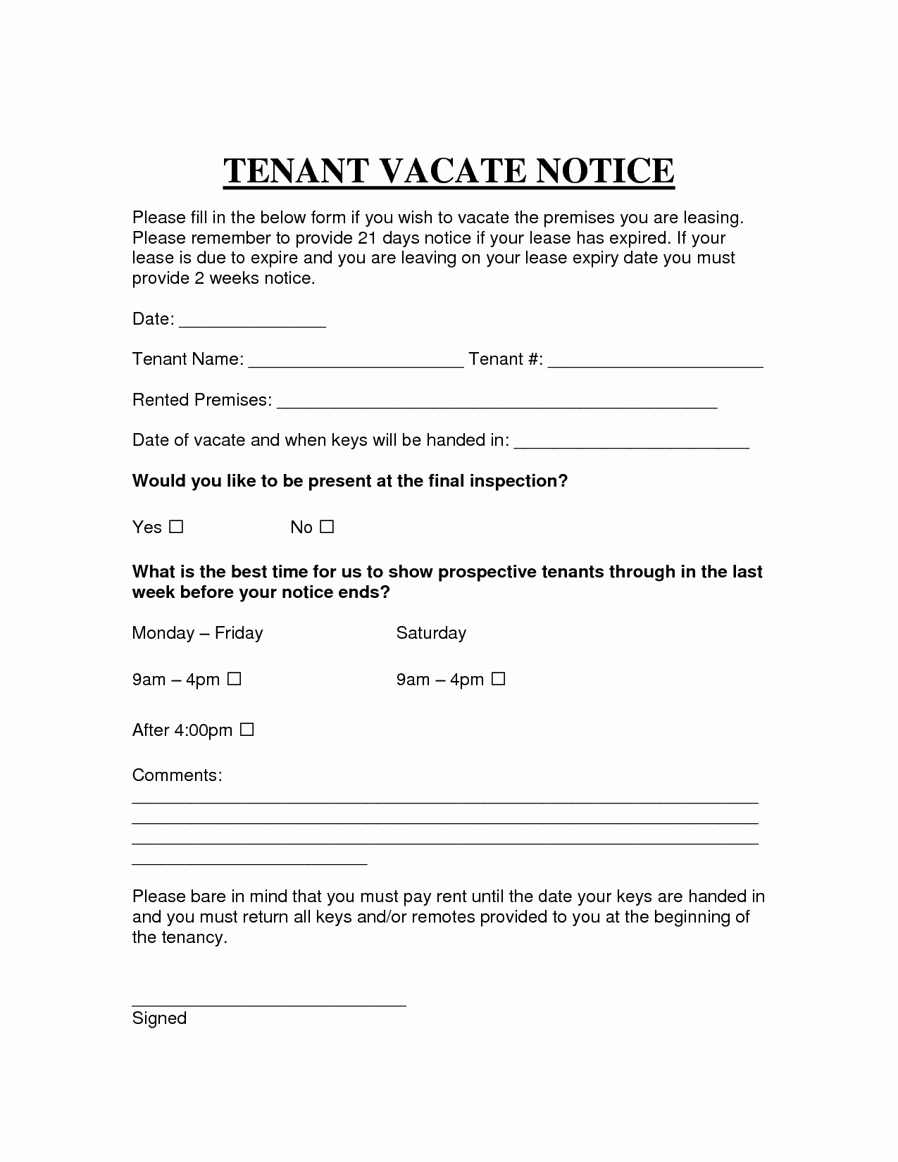 Notice to Vacate Letter Template Best Of Printable Sample Vacate Notice form