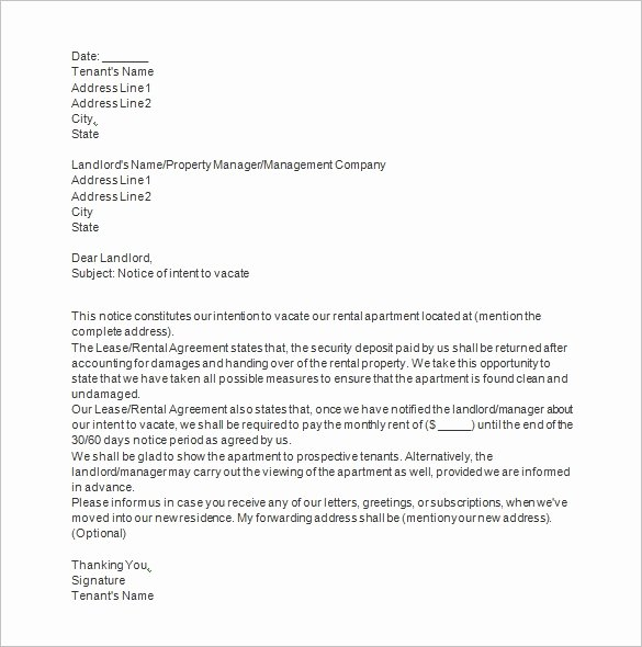 Notice to Vacate Letter Template Inspirational Notice Templates 104 Free Word Pdf format Download