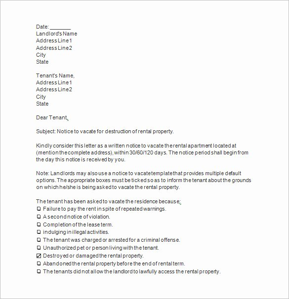 Notice to Vacate Letter Template Luxury 10 Notice to Vacate Templates Docs Excel Pdf Word