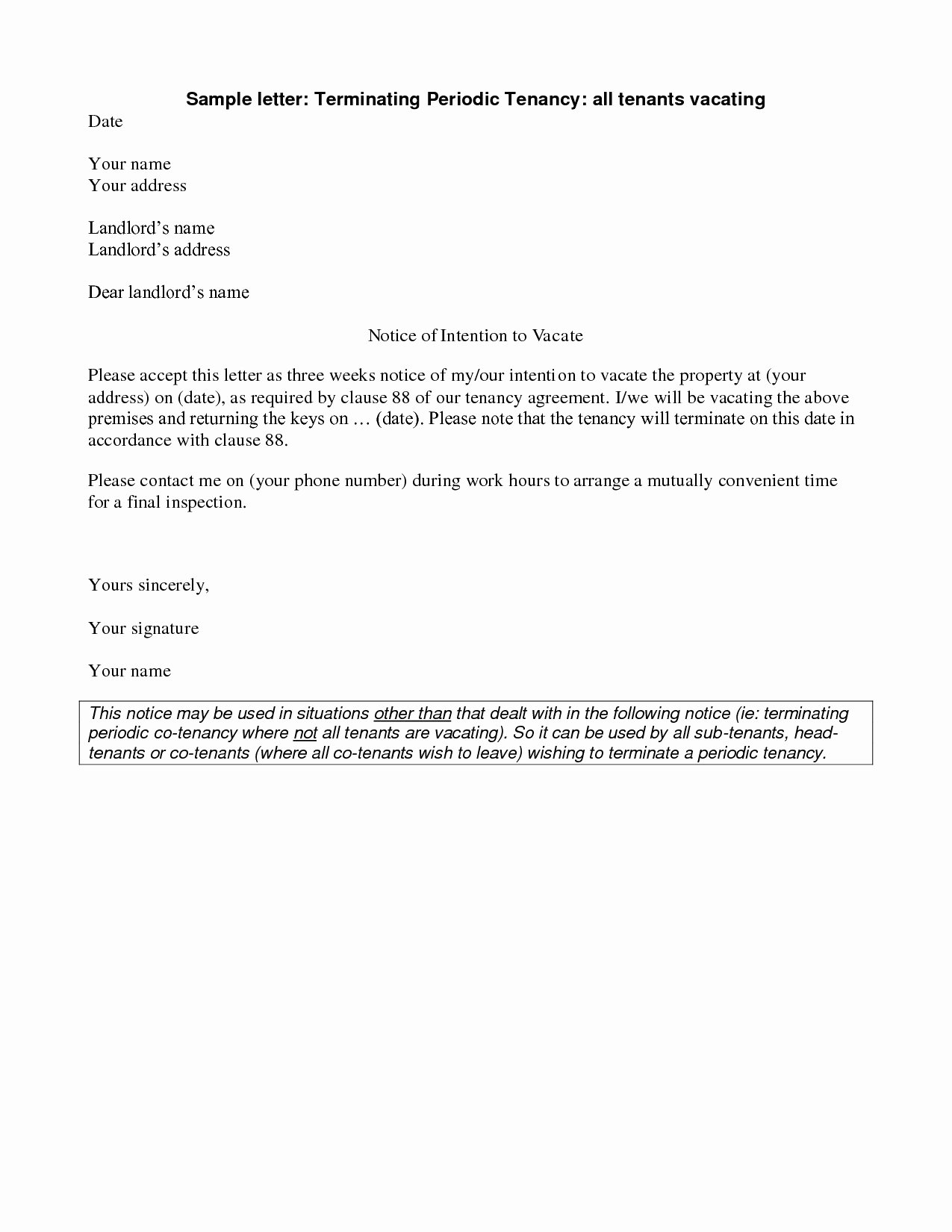 Notice to Vacate Letter Template Luxury Apartment 60 Day Notice Letter Sample Apartment