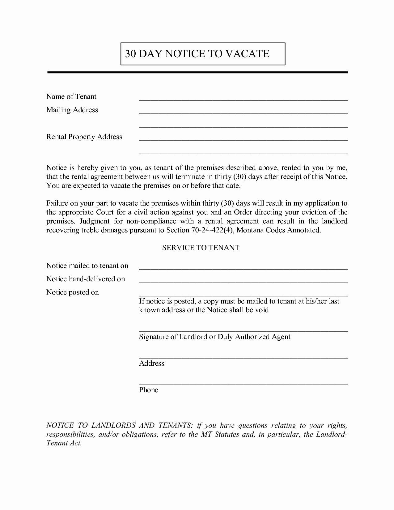 Notice to Vacate Letter Template New 30 Day Notice to Vacate to Tenant Free Printable Documents