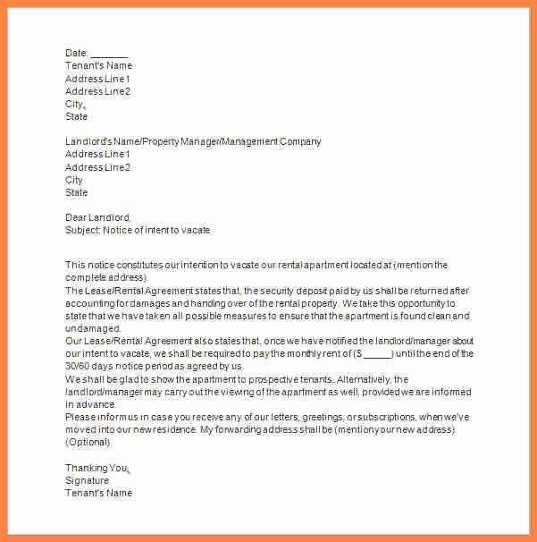 Notice to Vacate Letter Template New 6 Tenant Vacate Notice Sample