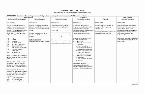 Nursing Care Plan Template Inspirational Nursing Care Plan Template 20 Free Word Excel Pdf