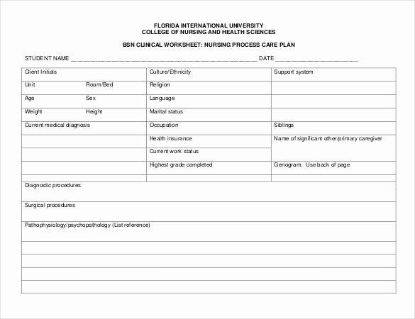 Nursing Care Plan Template Luxury Nursing Care Plan Template 20 Free Word Excel Pdf