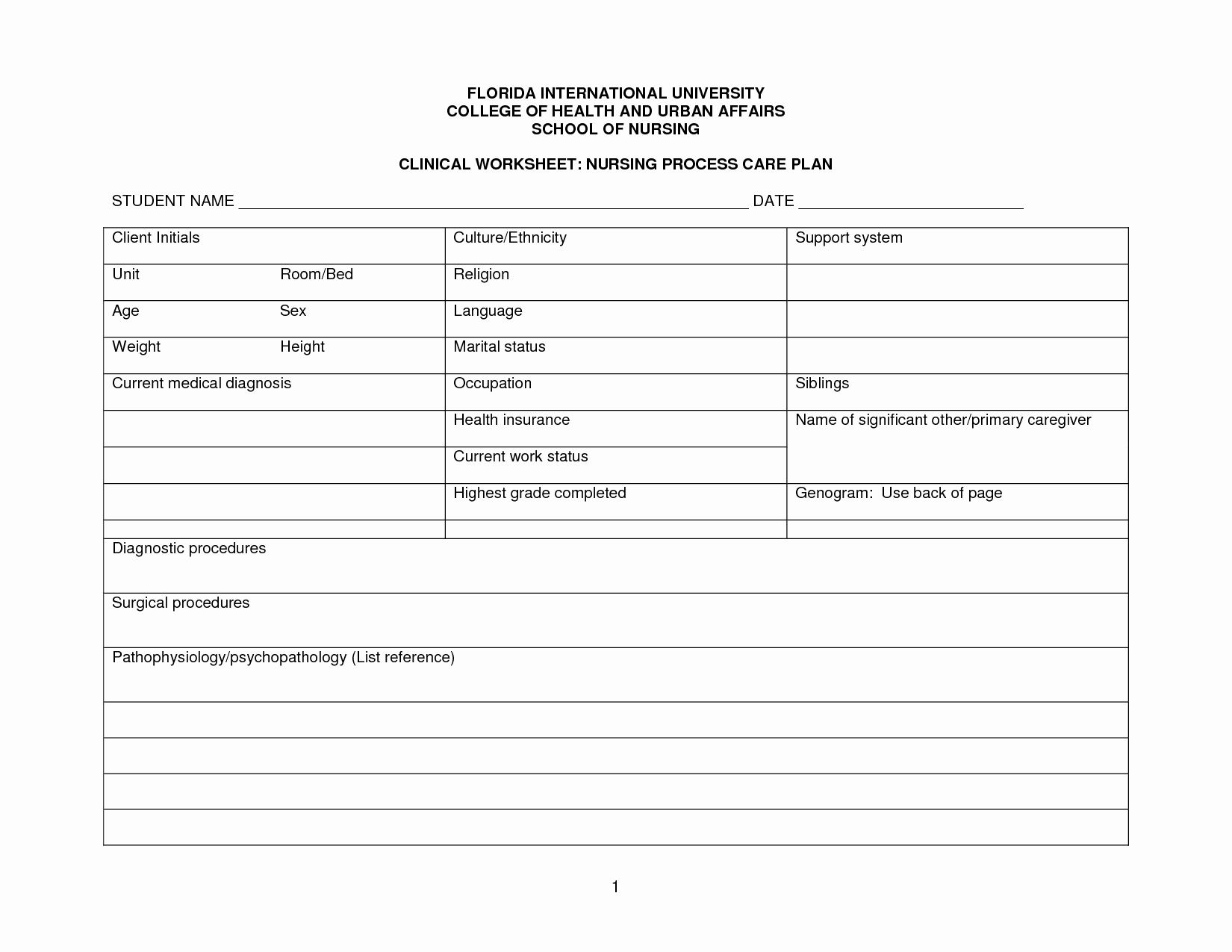 Nursing Care Plan Template New 30 Of Blank Patient Care Plan Template
