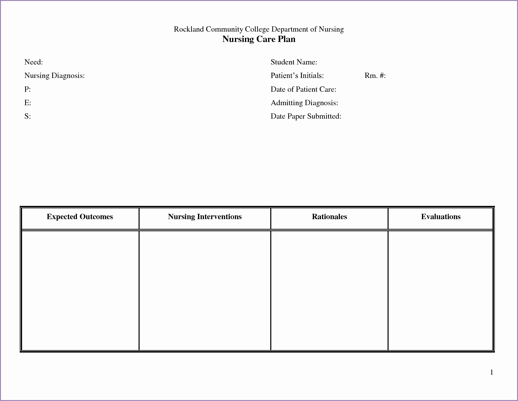 Nursing Care Plan Template Unique 24 Of Nursing Teaching Plan Template